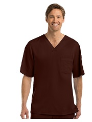 GA0103 Grey's Anatomy Men V-Neck Top TRUFFLE BROWN<br>Soft  FINAL SALE