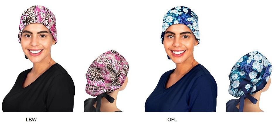 1002PRT Healing Hand Sage Bouffant Scrub Cap / Hat <br>(for Long Hair) 5 PRINTS