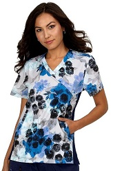 1015PR-FRG Koi Scrubs Lucky Top <BR>Flower Garden <br>FALL 2020 FINAL SALE XXS,S