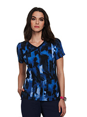 1049PR-WBS Koi Raquel Top Watermark Stripe Blue <br>FINAL SALE