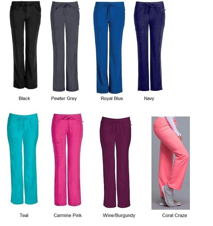 1123A Cherokee  Low-Rise Straight Drawstring Pants<br> *Certainty Antimicrobial Stretch* (XXS-5XL) <br>Regular/Petite/Tall