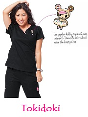 113HRT-TKD  Ashley Koi Comfortable Scrub Top Tokidoki (XS-3XL)