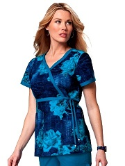 115PR-DNR Koi Kathryn Scrub Top Denim Roses<br> Fall 2014 (XS,S,2X,3X)