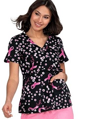 115PRM-MOL Koi Scrubs Kathryn Top  A MESSAGE OF LOVE Fall 2019 <br>BREAST CANCER <BR>FINAL SALE