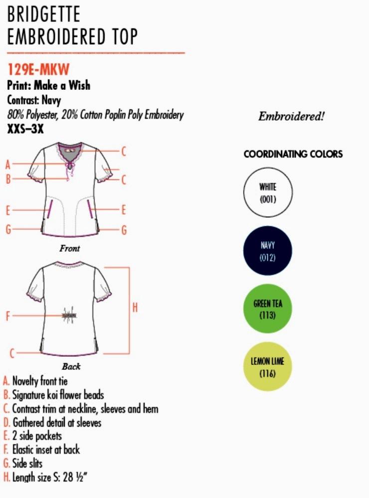 129E-MKW Koi Bridgette Embroidered Top Make a Wish <br>(XS,S) FINAL SALE