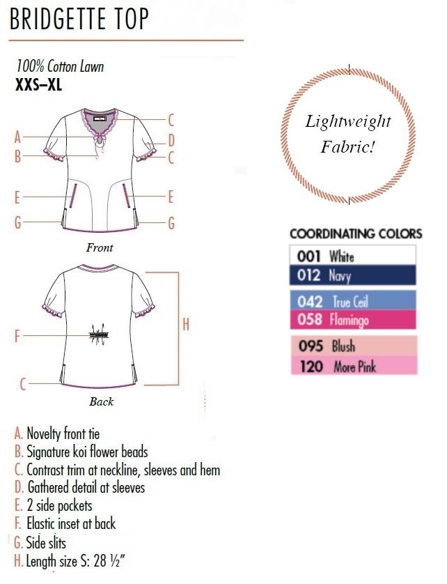 129PR-RRF Koi Bridgette Top Rick Rack Floral<br> Spring 2019 (100% Lightweight Cotton)