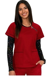 142-RU Koi Sienna Scrub Top Ruby Red *Rainbow Zipper* FINAL SALE