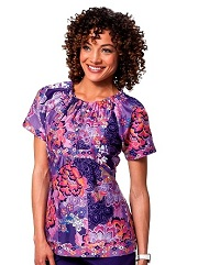 149PR-ASB Koi Bella Scrub Top Silky Sateen Ashbury<BR> Fall 2014 (S,M,2XL,3XL)