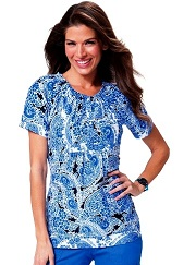 149PR-SWL Koi Bella Scrub Top Silky Sateen Swirly Paisley<BR> Summer 2014