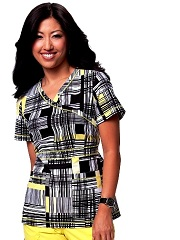 197PR-RTP Koi Julia Scrub Top Retro Plaid<br> Summer 2014 (XS)