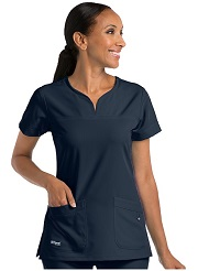 GA2121 Grey's Anatomy Signature Notch-Neck Top <br> Soft and Stretch  XS - 3XL *STRETCH*