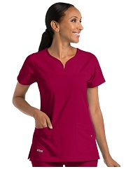 GA2121 Grey's Anatomy Signature Notch-Neck Top <br> Soft and Stretch  XXS - 5XL *STRETCH* FINAL SALE