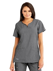 GA2121-SHADOW Grey's Anatomy Signature Notch-Neck Top <br> Soft and Stretch  *STRETCH*