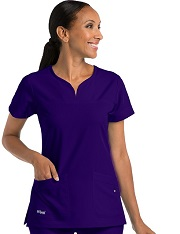 GA2121 Grey's Anatomy SignatureNotch-Neck Top <br> Soft and Stretch  *SOFT STRETCH* FINAL SALE