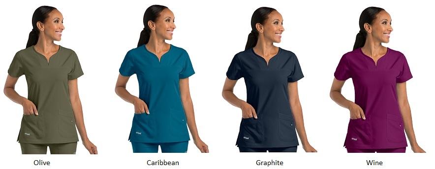 GA2121 Grey's Anatomy Signature Notch-Neck Top <br> Soft and Stretch  XXS - 3XL *STRETCH*