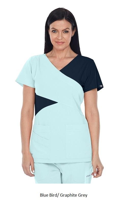GA2140 Grey's Anatomy Signature Color Block Scrub Top  Soft XS - 2XL <br> *STRETCH*