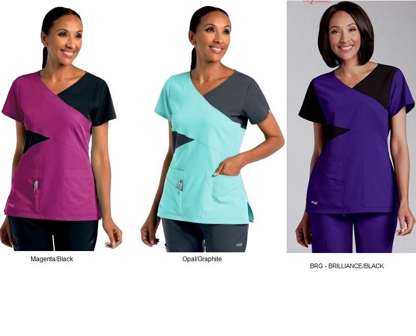 GA2140 Grey's Anatomy Color Block Scrub Top  Soft XS - 2XL <br> 4 Colors