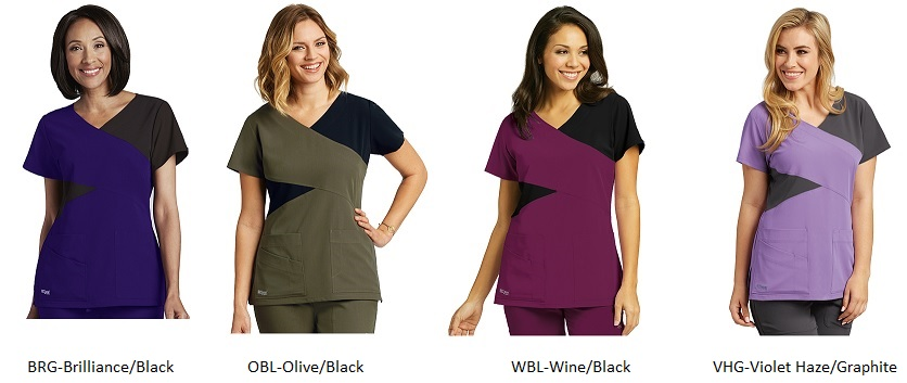 GA2140 Grey's Anatomy Signature Color Block Scrub Top  Soft XS - 2XL <br> 4 Colors *STRETCH*
