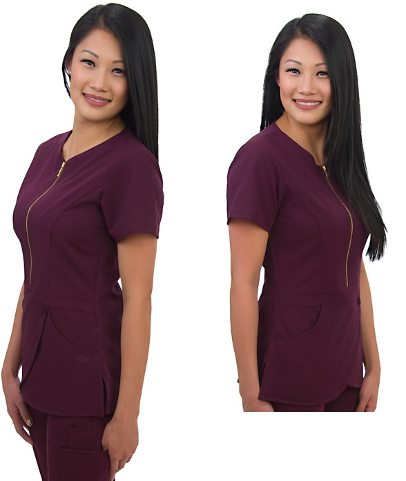 E232T Excel Contrast Zipper Scrub Top (XXS - 2XL) *Stretch*