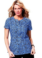 246PR-CHH Koi Scrubs Shasha Top Cool Cheetah Blue<br> Summer 2014