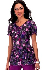 251PR-CLW Koi Brittany Scrub Top Chalk Flower w/ embroidery <br>Fall 2014 (XS,3X)