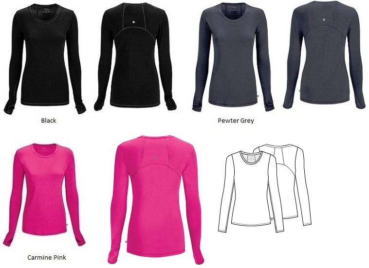 2626A Cherokee  Long Sleeve Knit Tee<br> *Certainty Antimicrobial Stretch - Yoga Inspired* (XS-2XL)