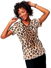 264PR-RSL Koi Lainey Top Rockstar Leopard<br> Stretch Fall 2014 (XS,S,M)