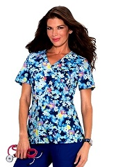 297PR-RFL Koi Sapphire Joelle Top River Floral<BR> Summer 2016 *Stretch* *FINAL SALE*