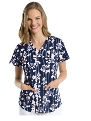 NRG3157-FLP NRG Scrub Top Falling Petals <br>FINAL SALE