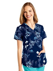 3157-WFL NRG Print Scrub Top Wildflower STRETCH <br>FINAL SALE