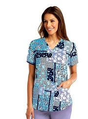 3157-WSH NRG Print Scrub Top Wishful STRETCH <br>FINAL SALE