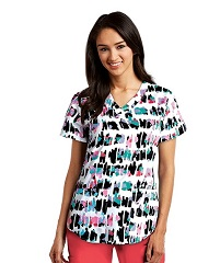 3157-WTN NRG Print Scrub Top Whitney STRETCH <br>FINAL SALE