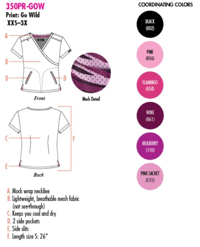 350PR-GOW Koi Lite Bliss Scrub Top Go Wid <br>Summer 2018 FINAL SALE (L)