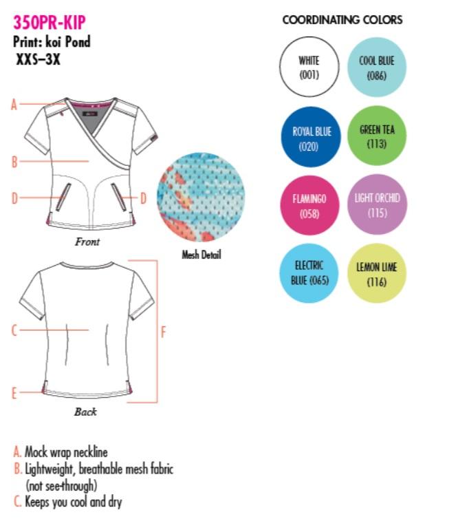 350PR-KIP Koi Lite Bliss Scrub Top Koi Pond <br>Summer 2018 FINAL SALE (XL)