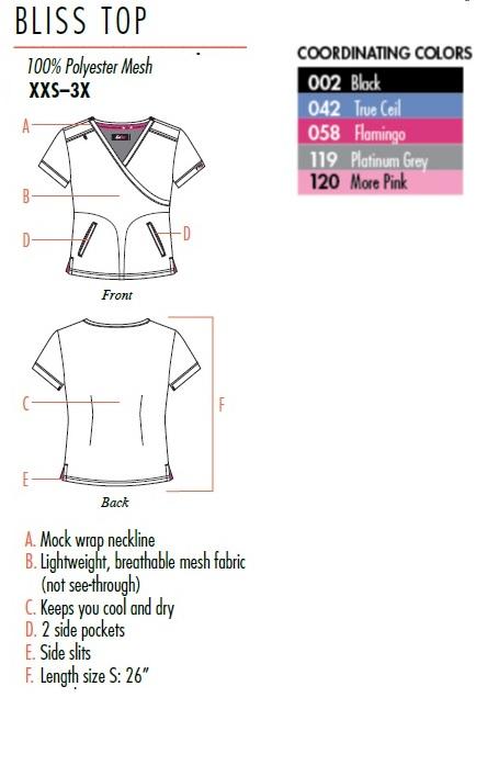 350PR-PKP Koi Lite Bliss Scrub Top Pink Punch <br>Spring 2019