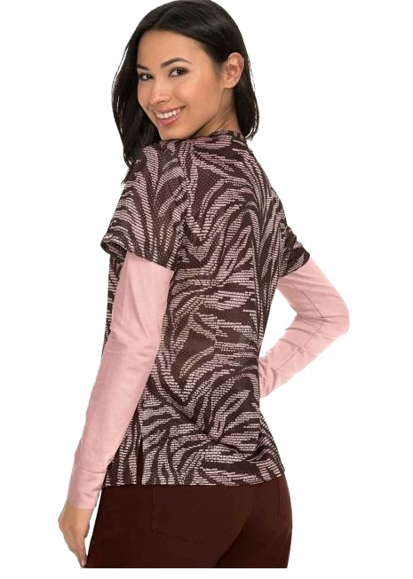 350PR-ZAS Koi Scrubs Bliss Top Zebra Stitched Espresso <br>FINAL SALE