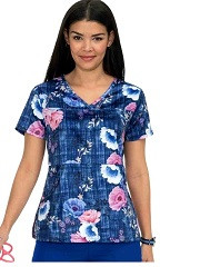 365PR-FGR Koi Alice Scrubs Top Falling Roses <br>FINAL SALE