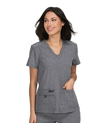 373-HG Koi Basic Becca Scrub Top <br>Microfiber Stretch HEATHER GREY