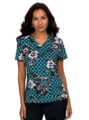 384PR-GEL Koi Basic Scrubs Leslie Top <br>Geo Leaves <br>FALL 2020