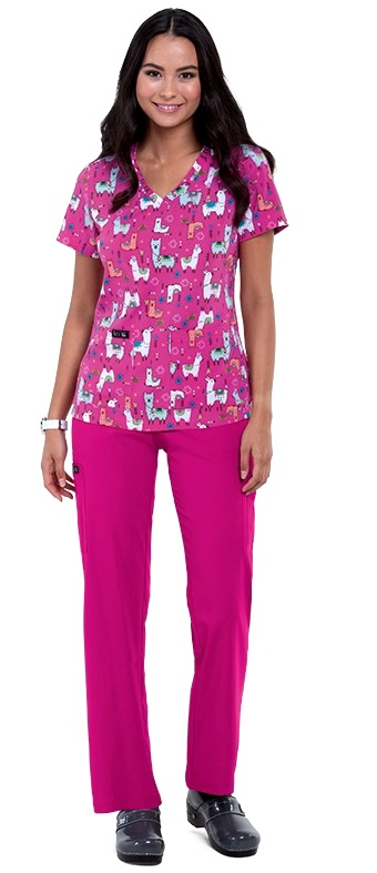 384PR-LAM Koi Basic Scrubs Leslie Top Lama <BR>FINAL SALE XXS, S