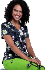 384PR-WDY Koi Basic Scrubs Leslie Top Wild Daisy<BR>FINAL SALE