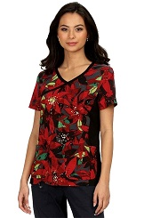 385PR-HFL Koi Scrubs Raquel Top <br>Holiday Floral <br>FALL 2020-FINAL SALE (XS,S,M,L)