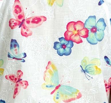 391E-BBE Koi Kelby Embroidered Top Busy Butterflies <br>Spring 2019