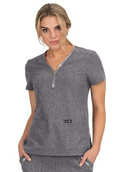 398-HG Koi Basic Marie Scrub Top Heather Grey