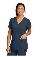GA41101 Grey's Anatomy  2 Pocket Mock Wrap Top <BR>FINAL SALE