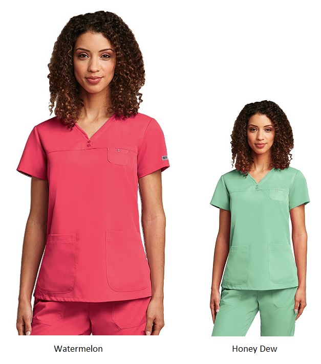 GA41340 Grey's Anatomy V-Neck Top (Watermelon, Honeydew)<br>Soft FINAL SALE