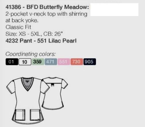 GA41386-BFD Grey's Anatomy Top Butterfly Meadows<br> Summer 2018 FINAL SALE (3XL)