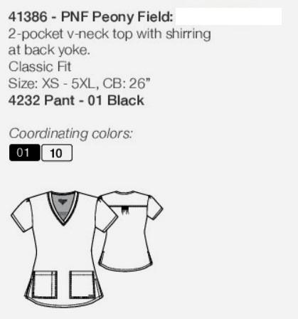GA41386-PNF Grey's Anatomy Top Peony Field<br> Summer 2018 FINAL SALE (XS,4XL)