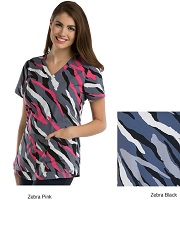 GA41386-ZBL Grey's Anatomy Print Top Zebra<br> SUPER SOFT (BLACK WHITE XS-5XL) <br>FINAL SALE