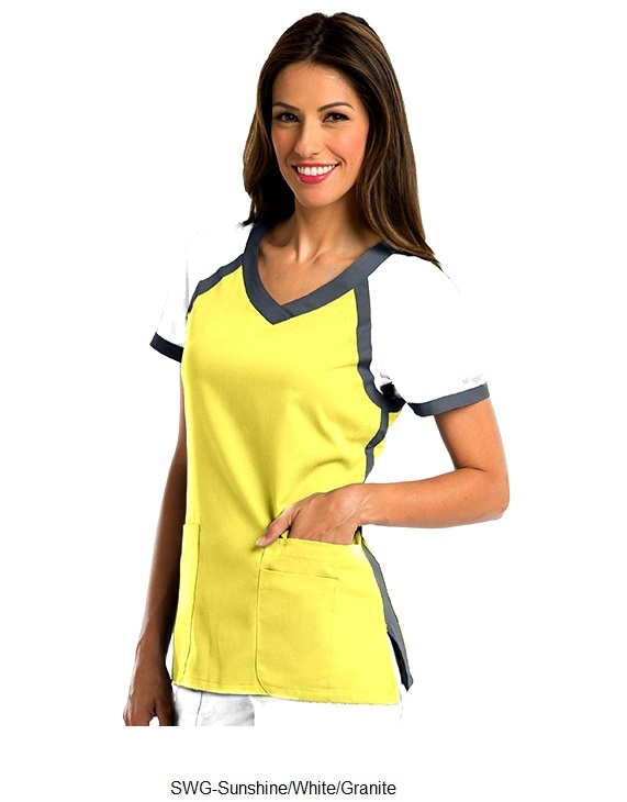 GA41435 Grey's Anatomy Active Color Block Crossover Scrub Top <br>XXS - 3XL